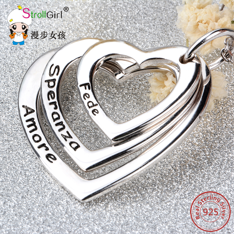 Strollgirl Personalized Custom Name Necklace Pendant 925 Sterling Silver String Hollow Hearts Necklace For Women Jewelry Collier