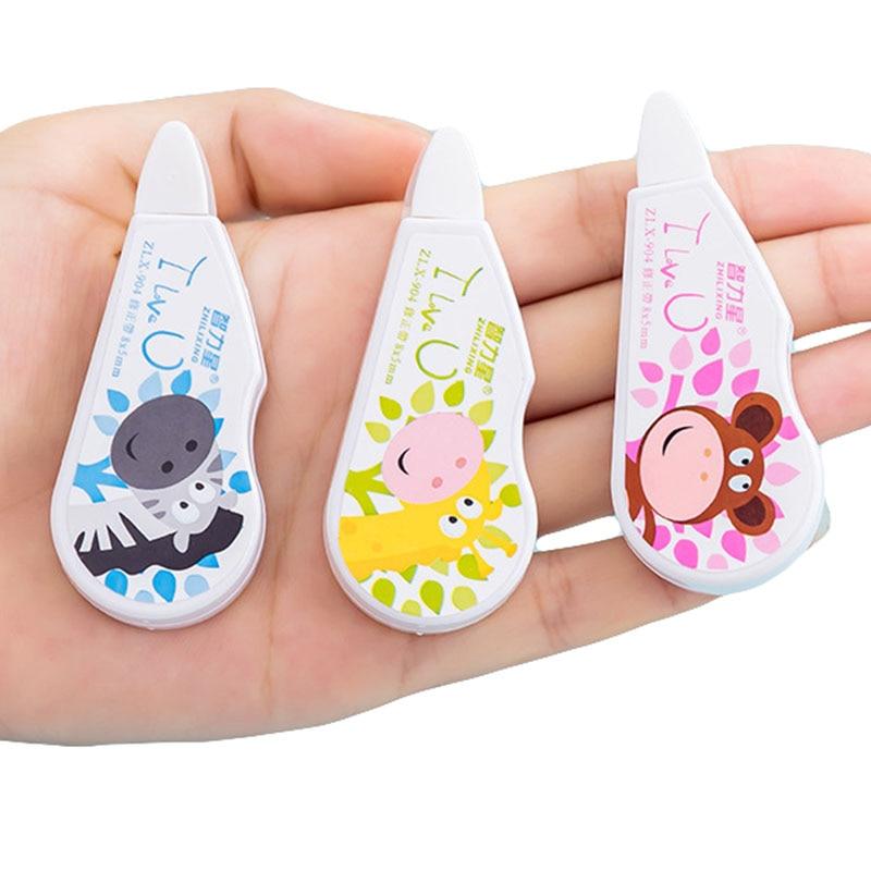 2pcs Creative Cute Cartoon Giraffe Pattern Correction Tape Korea Fashion Mini Animal Simple Correction Supplies Learning Tool