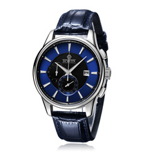 2016 Новая Мода мужские часы Световой Кожаный Ремешок Многофункциональный кварцевые Часы Водонепроницаемые Наручные Часы Таблица Мужчины Кварцевые Часы