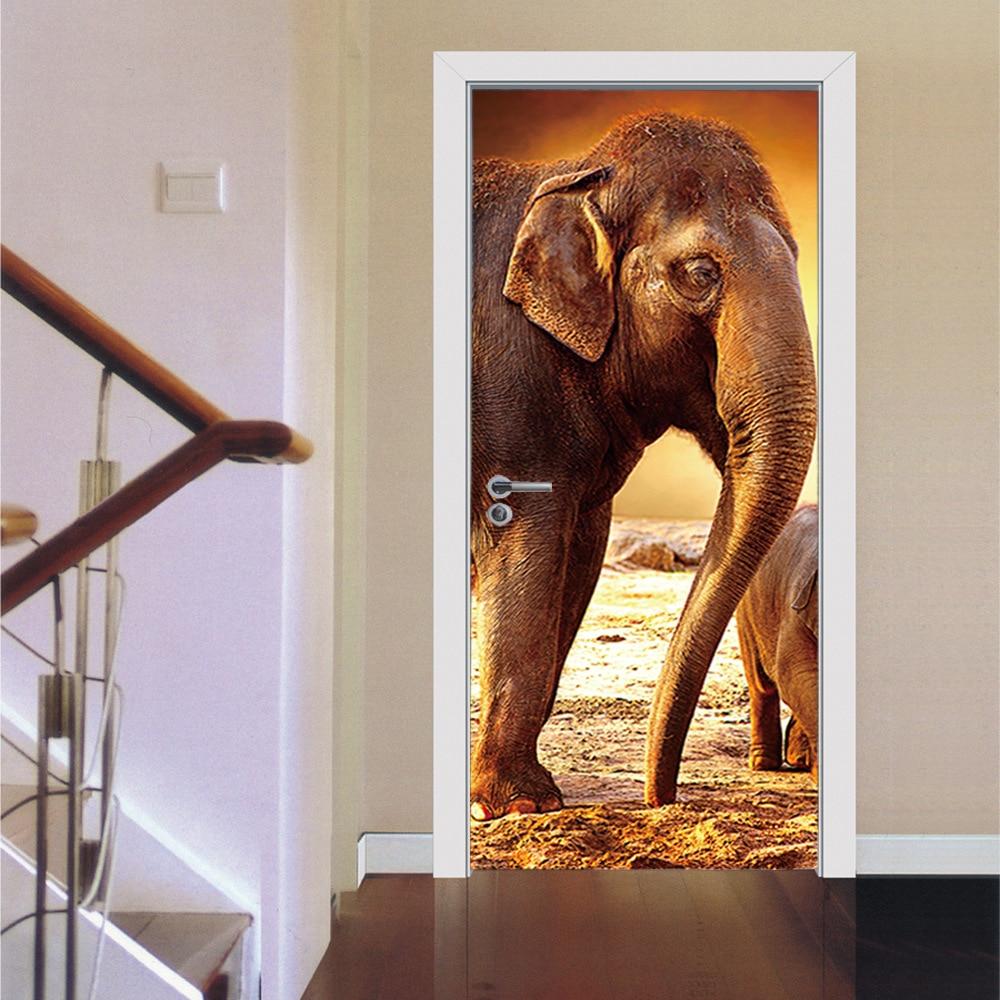 3D Door Stickers Castle Elephant Stickers Living Room Bedroom Door Creative  PVC Background Decorative Wall Stickers ... Part 97