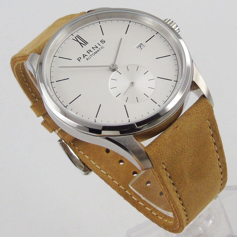Saatler'ten Mekanik Saatler'de 2019 üst Marka Lüks Yeni 42mm parnis Beyaz kadran paslanmaz çelik kasa Komple Takvim ST 1730 Otomatik hareketi erkek saati title=