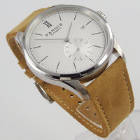 2019 topo da marca de luxo novo 42mm parnis branco dial caixa aço inoxidável calendário completo st 1730 movimento automático relógio masculino