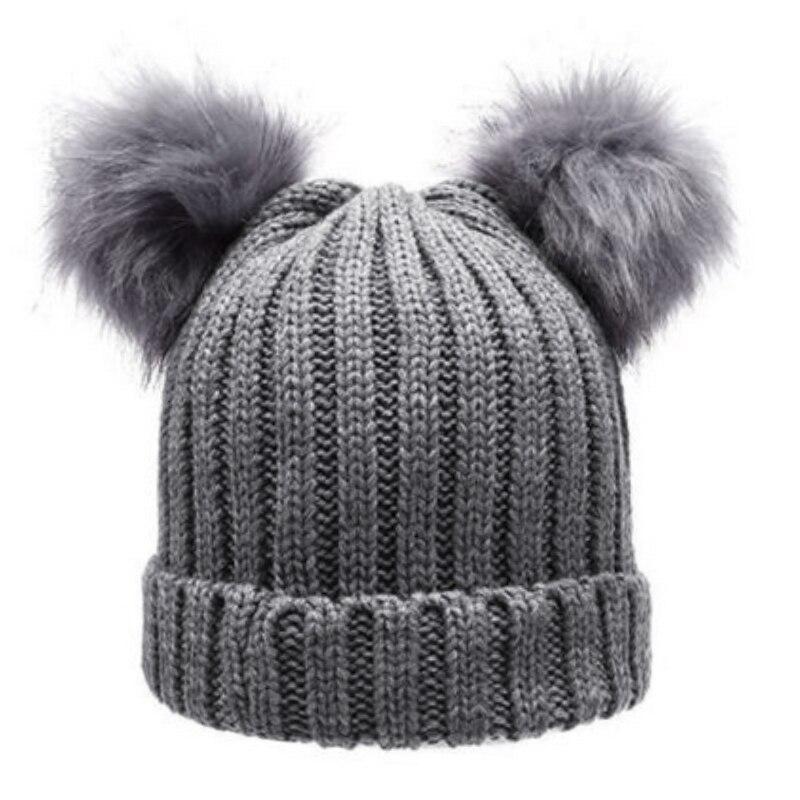 Female Beanies Women s Winter Hat Knit Caps Faux Fur Chunky Pom Pom Hat  Women Wool Crochet Pompom Gorros Warm Bobble Cap 2018-in Skullies   Beanies  from ... 3e3e71a5e37