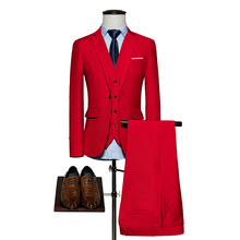 Business 2017 autumn winters is pure color suits young career suits men bigger sizes suit three-piece the groom's wedding dress