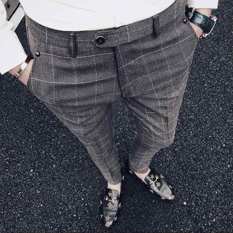 Pantalones de traje gruesos de invierno Sunwang para hombre pantalones de vestir a cuadros de moda de talla asiática ropa Formal de negocios pantalones de fiesta para hombre pantalón