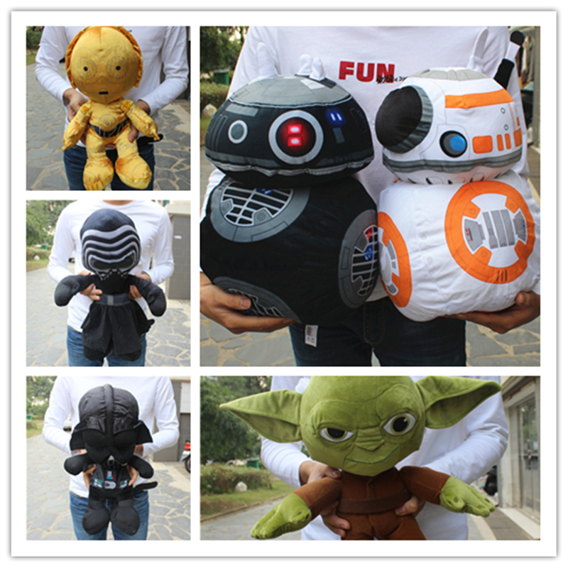 1 Stuk Big Size 40-45 Cm Star Wars Force Wekt Darth Vader Bb-8 Robot C-3po Master Yoda Kylo Ren Finn Gevulde Pluche Knuffels Van Het Grootste Gemak