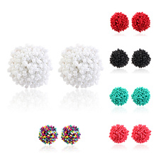 New Earrings Fashion Simple Stud Personality Trend Push-back Mi beads Jewelry Womens