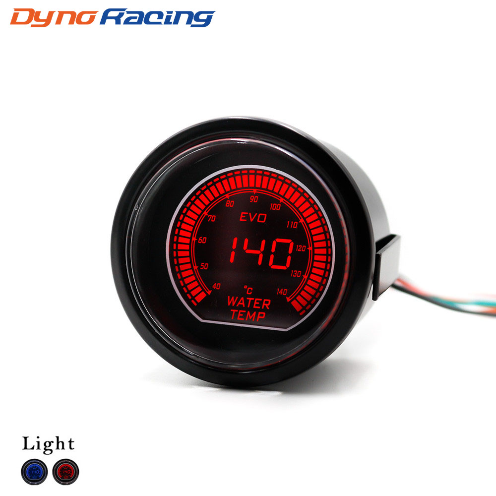52mm 2inch EVO LCD Red/Blue led Water Temperature Gauge With Sensor 40-140 Degree Celsius  Water temp gauge  YC101032