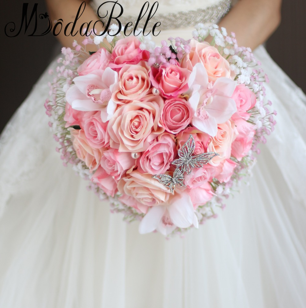 Heart Shaped Bride Bouquets Pearls Crystal Artificial Roses Flowers