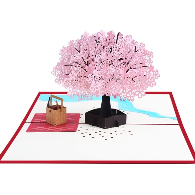 3d pop up cherry blossoms greeting card christmas birthday new year invitation w215