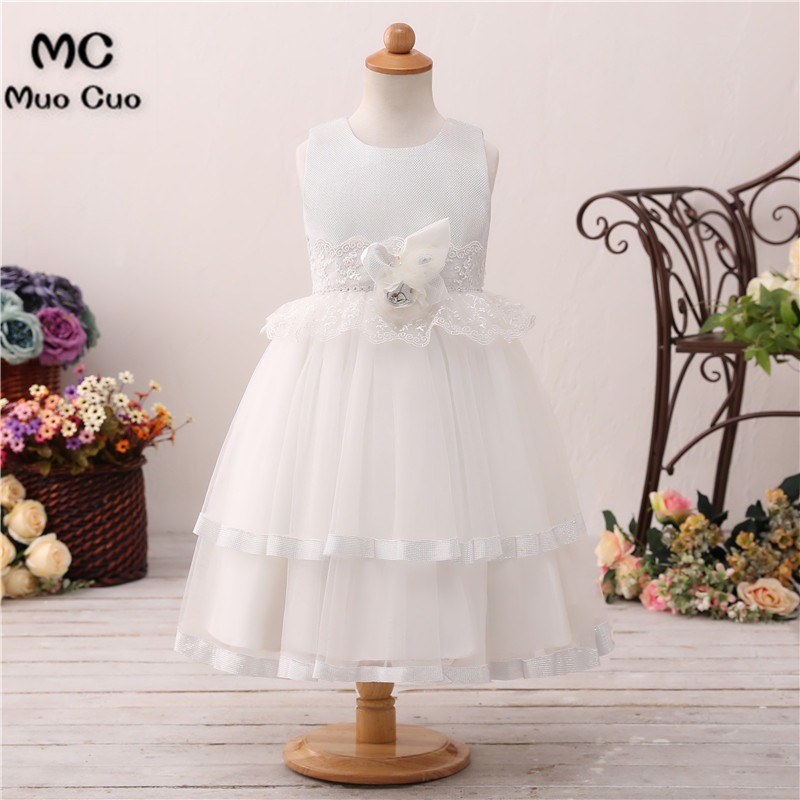 Puffy 2018 Ball Gown first communion   dresses   for   girls   Appliques 2 Layers kids evening gowns   flower     girl     dresses   for weddings