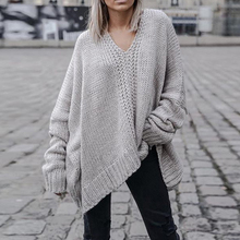 SHENGPALAENew otoño 2018 moda Color sólido cuello V manga larga negro gris  suelta suéter grande del tamaño mujeres JC35901 cb9704610908