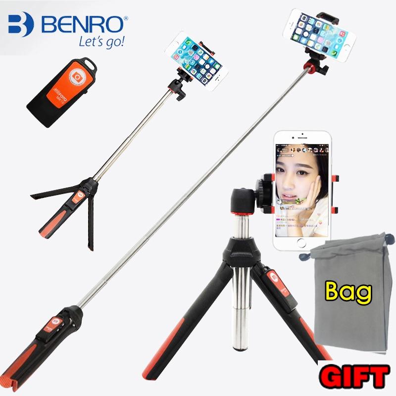 BENRO MK10 Handheld mini Tripod for Phone 3 in 1 Self portrait Monopod Selfie Stick with