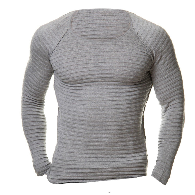 Mens Crew Neck Long Sleeves Muscle Tee Casual Solid Stretch Tops Slim Fit Blouse