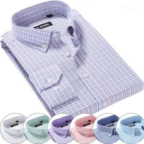 Бесплатная доставка европейский рубашка размер классический fit с длинным рукавом высокое качество 38 - 44 марка оксфорд рубашка Большой размер QR-6000