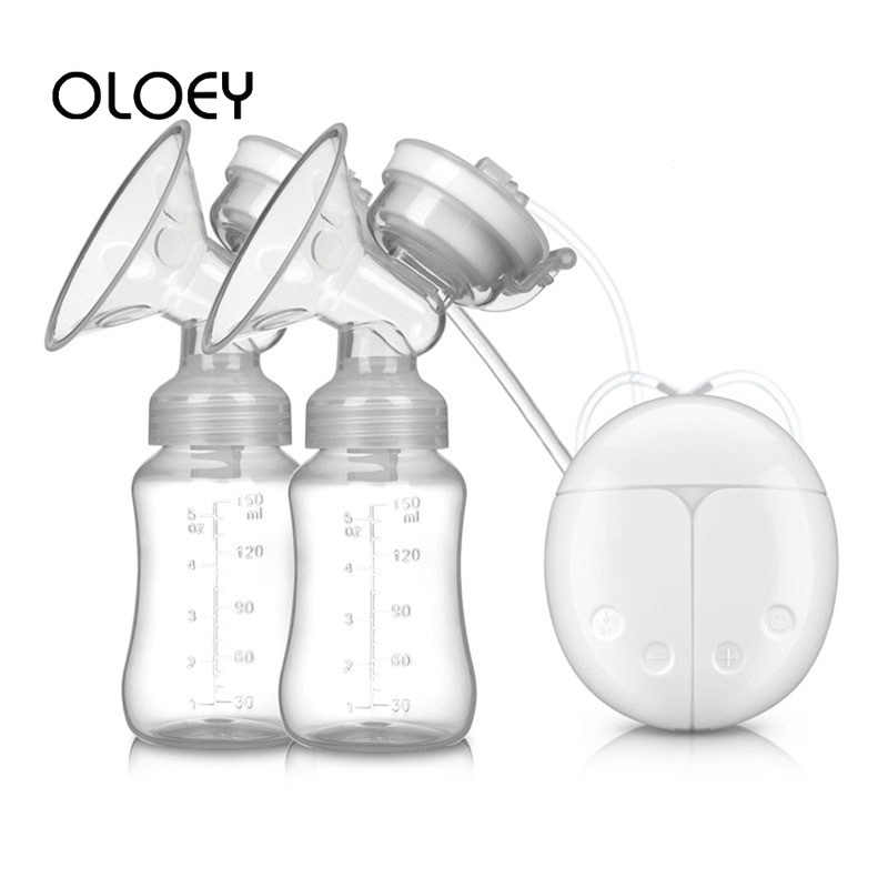 OLOEY  USB Electric Breast Pump with Baby Milk Bottle Safety Cold Heat 2 Bottle Double Nipple Suction Silicone Breastfeed Manual