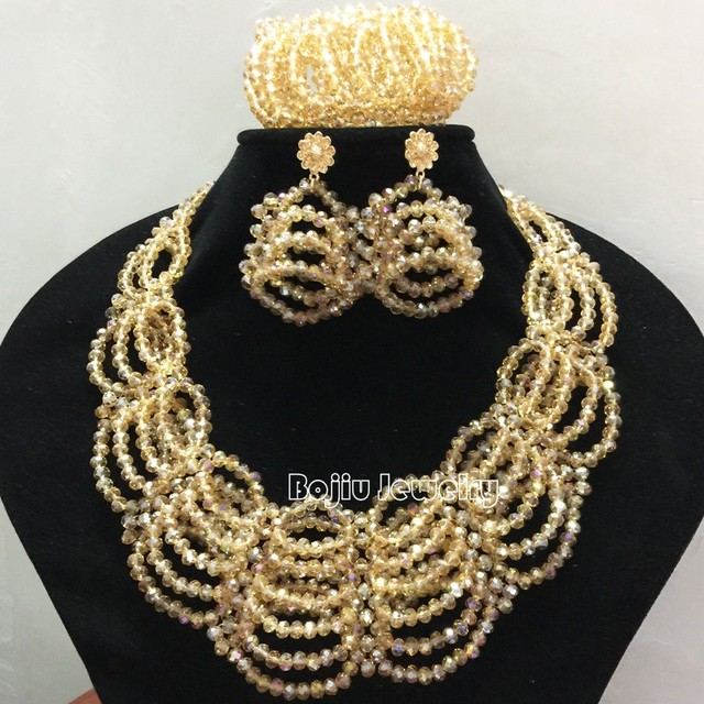 Gold African Beads Jewelry Sets Crystal Beads Oval Handmade Jewelry Set Shinning Jewelry Set 85