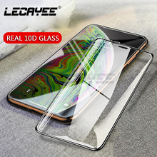 LECAYEE Real 10D Curved Edge Full Covered Tempered Glass for iPhone X Xs Max XR Protective on 7 8 6s Plus Film