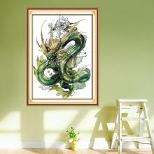 Dragão verde bordados padrões, contado impresso na tela dmc 14ct 11ct kits de ponto cruz, diy mão bordado conjuntos decoração da casa