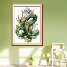 Green Dragon Embroidery Patterns,Counted Printed on Fabric DMC 14CT 11CT Cross Stitch kits, DIY Hand Needlework Sets Home Decor