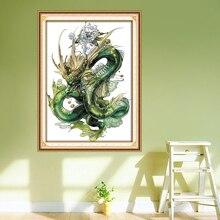 Patrones de bordado de dragón verde, estampado de cuentas en tela DMC 14CT 11CT kits de punto de cruz, juegos de costura de mano DIY decoración del hogar