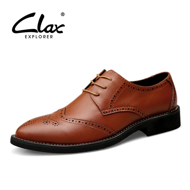 9a8dc28c9 CLAX Homens Brogue Sapatos Primavera Outono Marrom Preto de Couro Vestido sapato  Masculino Sapato de Casamento