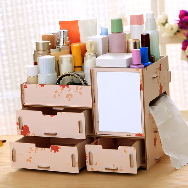 Wooden Makeup Storage Box Cosmetic Organizer Case Handmade DIY Assembly  Jewelry Makeup Storage Container With Mirror