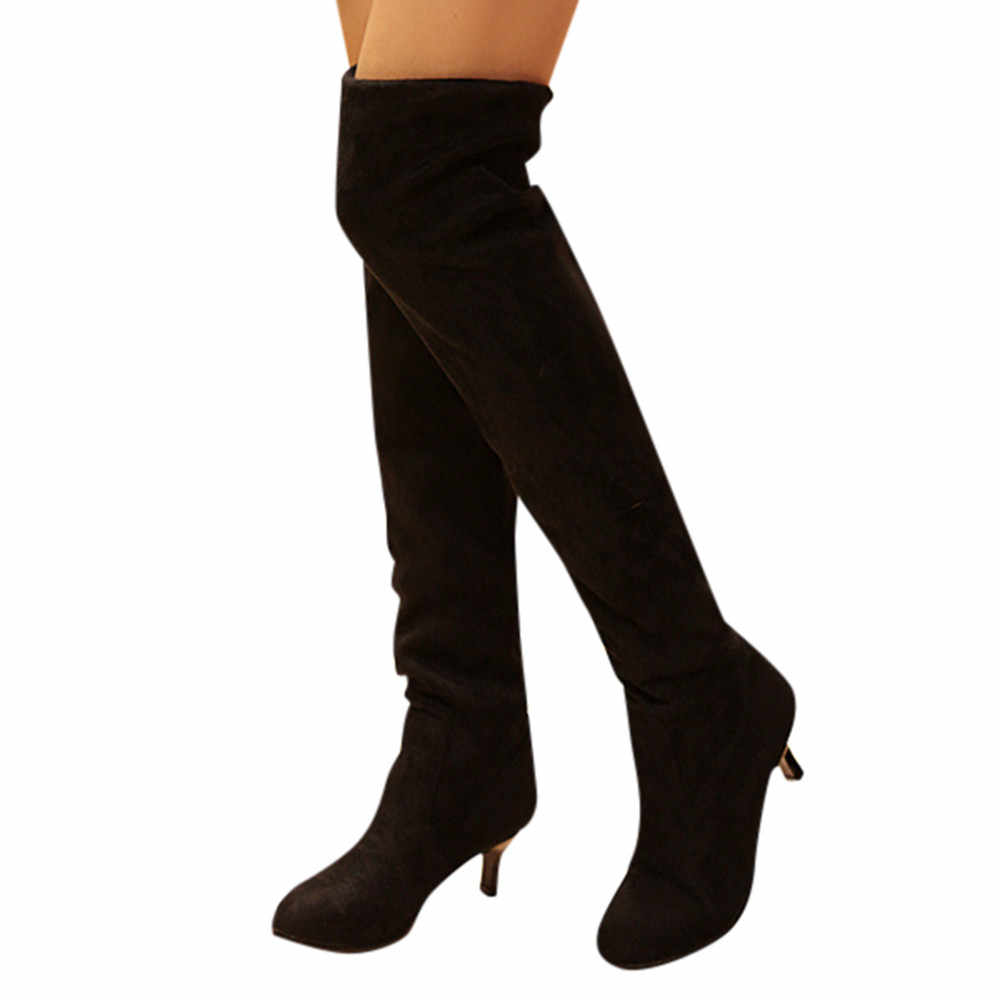 dc3816d7364 Winter boots women suede over the knee shoes block middle heels thigh high  botas mujer jpg