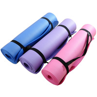 NBR Yoga Mat 10mm with Carrying Strap 10mm Non Slip Elastic Anti Slip Sport Mat Fitness Yoga Mats Fitness NBR