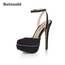 Batzuzhi Super Sexy Italian Style Women Pump Shoes 14cm High Heel Summer Platform for Party Slingback Buckle