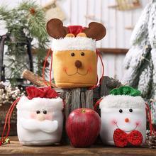 Christmas Candy Bags Santa Claus Elk Snowman Linen Drawstring Hanging Storage Bag Apple Kids Gift Pack Wedding Party Decoration christmas hanging balls pattern candy drawstring storage bag