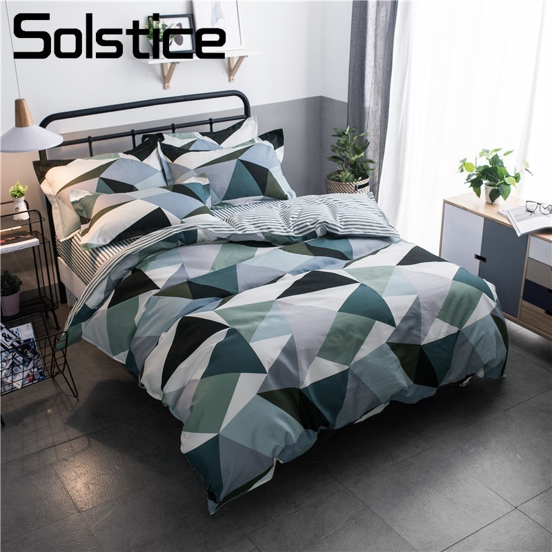 Solstice Home Textile Geometric Checked Sport Simple Bedding Set Boy Kid Teen Adult Girl Linens Duvet Cover Pillowcase Bed Sheet