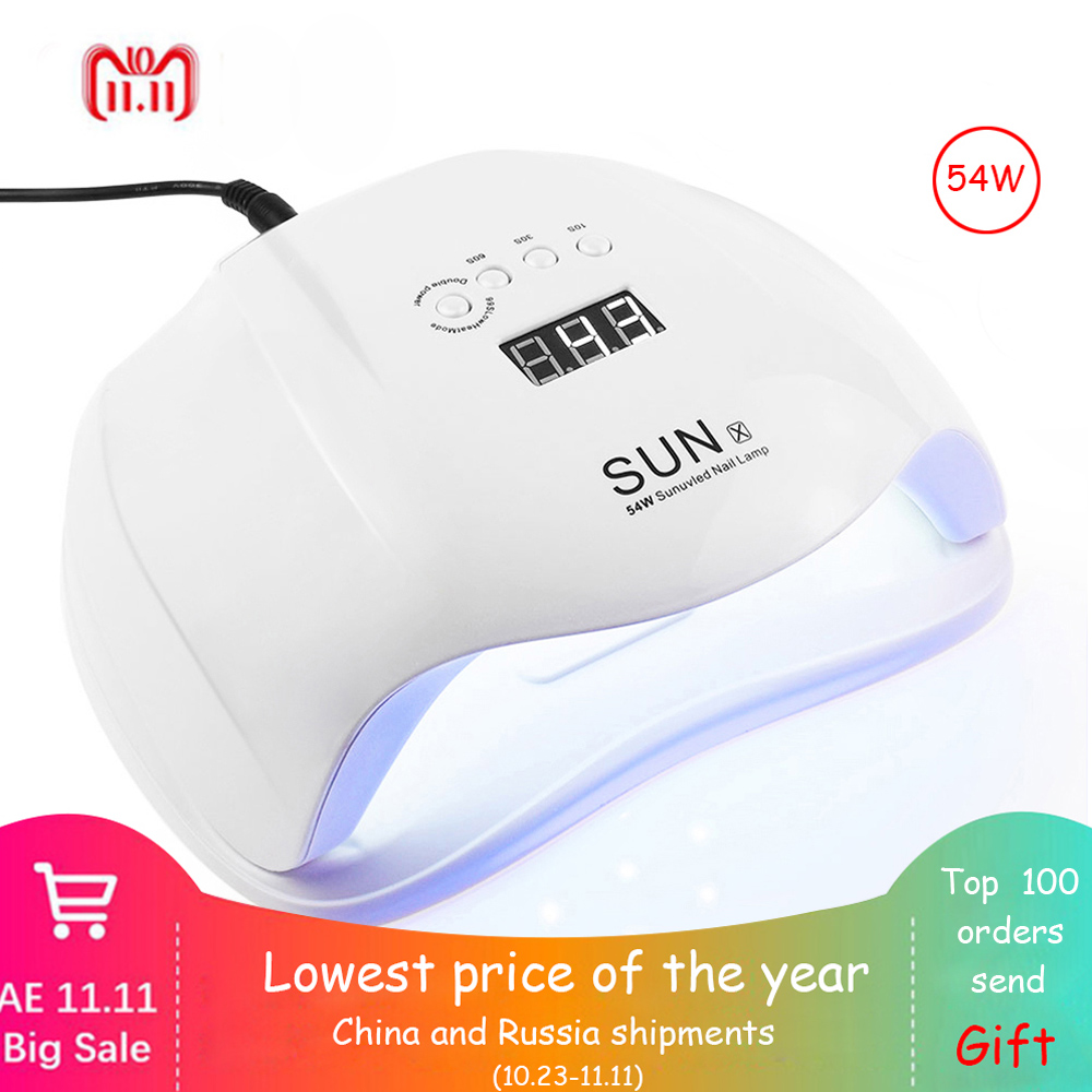 Jewhiteny SUNX 54 watt UV Lampe LED Nagel Lampe Nagel Trockner Für Alle Gele Polnisch Mit Infrarot Sensing 30/ 60/90 s Timer Smart touch-taste