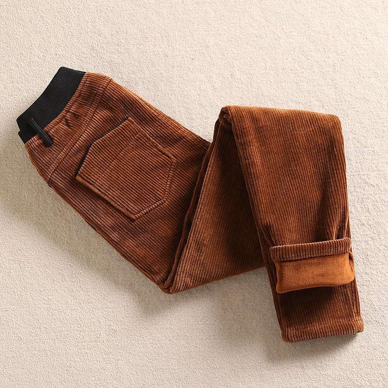 Long Casual High Waist Trousers Women Autumn Winter Plus Velvet Thicken Corduroy Pants Women Warm Harem