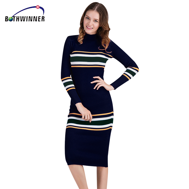 Bothwinner Autumn Winter Tight Stretchy Sweaters Knitted Dress Women Sexy Casual Long Maxi Sweater Dress Pull Party Dress