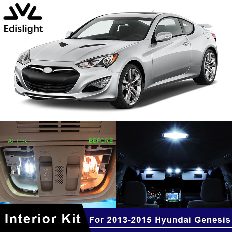 Edislight 10pcs White Ice Blue Led Lamp Car Bulbs Interior Package Kit For 2013 2015 Hyundai Genesis Map Trunk Plate Glove Light In Signal Lamp From
