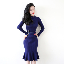 Фотография Autumn Winter Women Knitting Slim Pullover Ruffled Dresses Trumpet Girls Knitted Solid Dress Mermaid Female GT6661