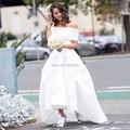 Простой длинные белые свадебные платья 2016 элегантные свадебные платья без бретелек короткие рукава полная длина линии формальные Vestido де феста
