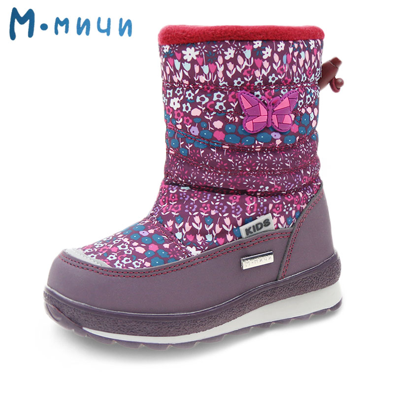 ФОТО MMNUN 2017 New Winter Shoes for Children Floral Big Kids Boots Winter Boots for Girls Warm Children Winter Boots Snowshoes
