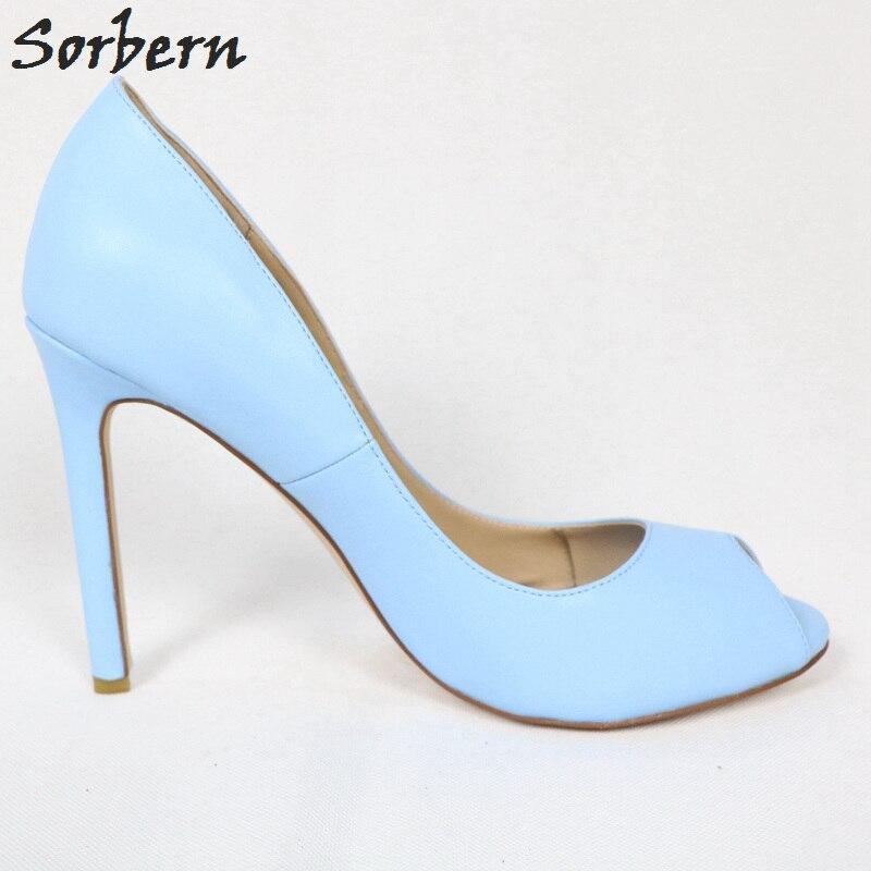 c04fcd3e4a0be ... Heels Women'S Shoes Size 13 Custom Color. . Sorbern Sky Blue Peep Toe  Women Pump Shoes High Heel Slip On Stilettos Ol Footwear Sexy. sku:  32967713720