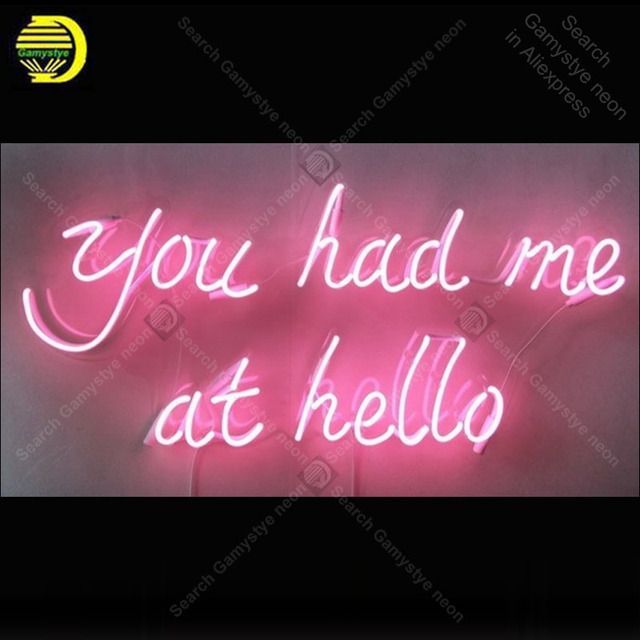 You Had Me At Hello Neon Sign Handmade neon light adornment Decorate Home Bedroom Iconic Art Neon Lamp Clear Board lamp Artwork