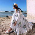MX033 Original Diseño de la Primavera 2016 ahuecó hacia fuera el estampado de flores floral beach dress V-cuello largo maxi vestido de las mujeres del verano