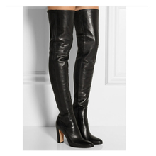 Plain Leather Black Thigh High Boots Square Heel Round Toe Zip Over Knee High Boots Autumn Shoe Fashion Motorcycle Booties Women jialuowei women sexy fashion shoes lace up knee high thin high heel platform thigh high boots pointed stiletto zip leather boots