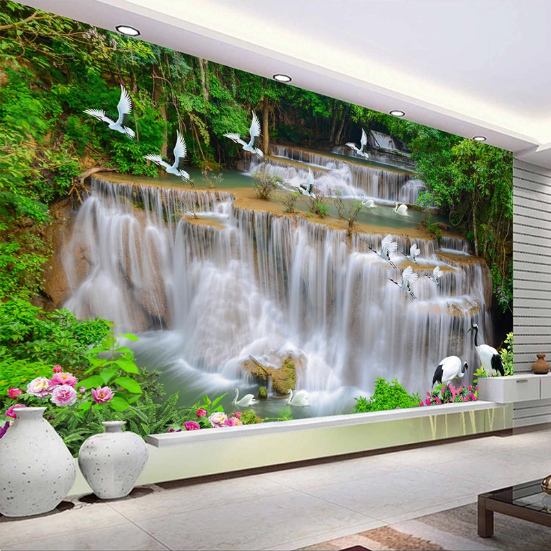 Custom 3D Photo Wallpaper Waterfall Scenery Waterproof Self Adhesive Mural Papel De Parede Living Room Bedroom Background Wall