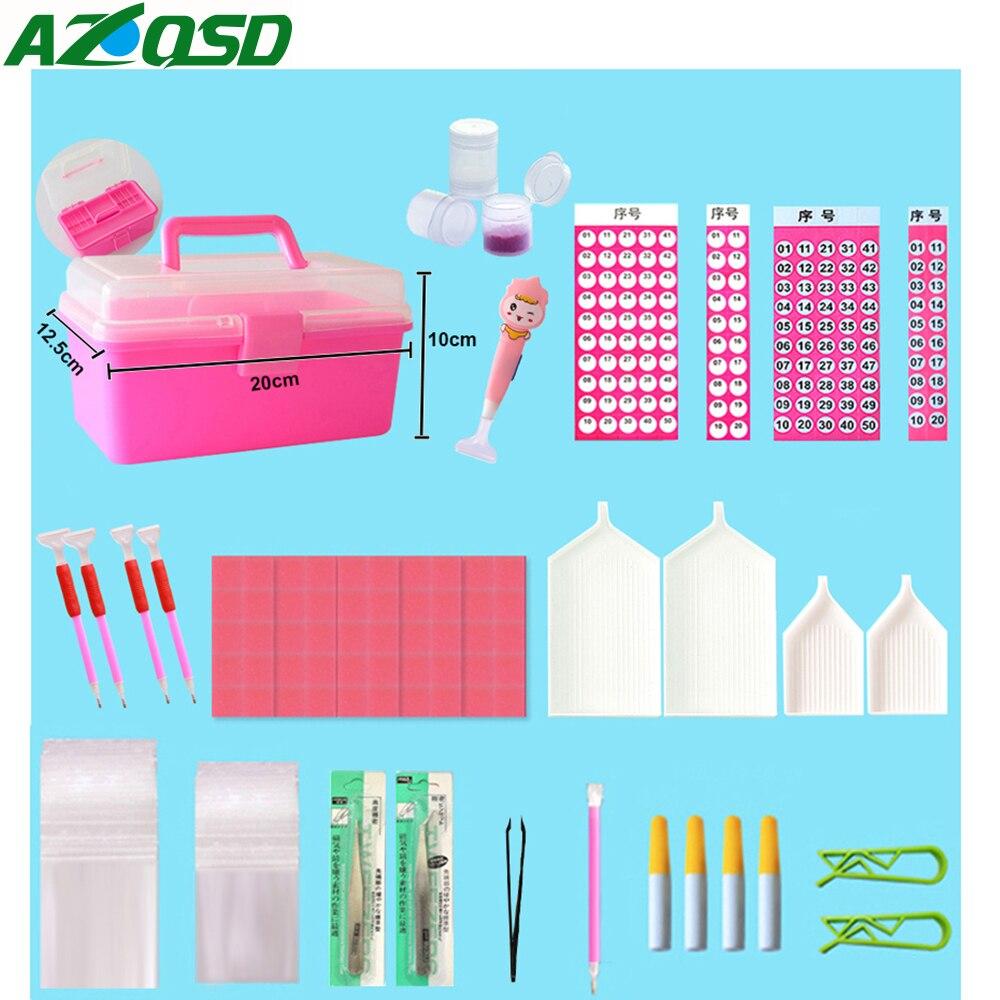 AZQSD Diamant Malerei Zubehör Werkzeuge Voll Kits Diamant Mosaik Kunststoff Boxen Holz Roller Gläser Fällen Beruf DIY