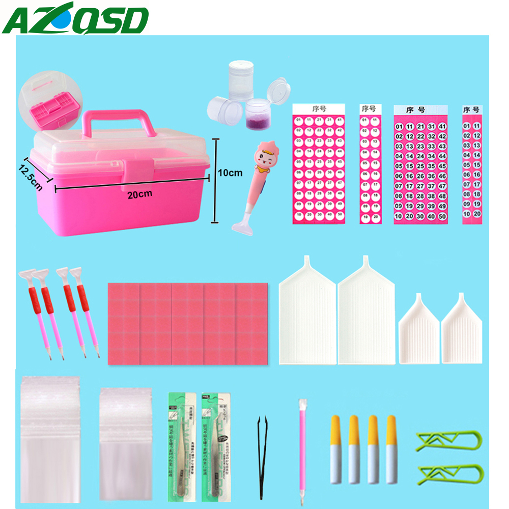 AZQSD pintura diamante accesorios herramientas Kits completos de mosaico de cajas de plástico rodillo de madera gafas casos profesión DIY