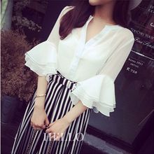 Spring summer 2016 Korean large code V collar ruffles trumpet Sleeve Chiffon shirt female Eugen yarn tops