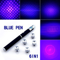 Powerful 6in1 5mw 532nm 650nm 405nm Red Green Blue Laser Pointer Pen Laser + 5 Star Caps Beam Light ,Aperture, Kaleidoscopic