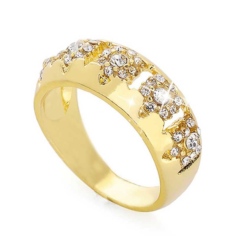 Luxury Gem Wedding Ring Horse Eye Round Zircon Plated Yellow Gold Separated Ring European and American