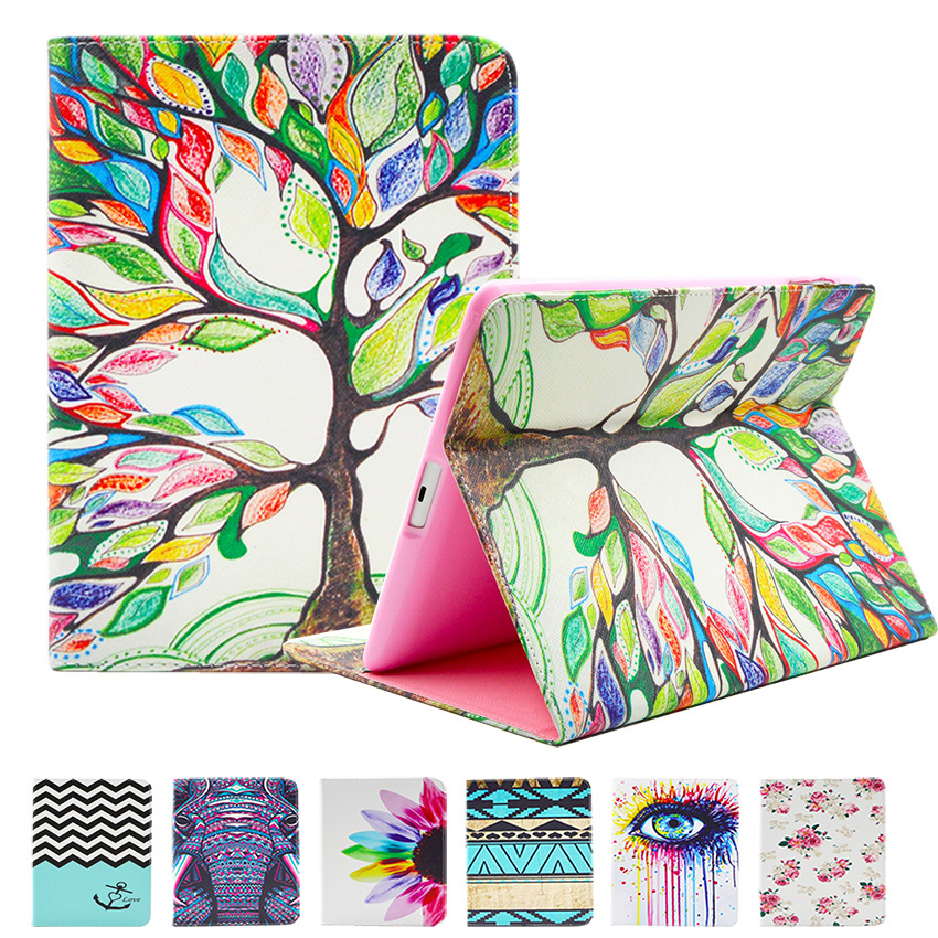 цены GOOYIYO - For Apple iPad Mini 1/2/3/4 Painting Print Flip PU Leather Case Tablet Pad Cover with Cute Wallet Card Bag